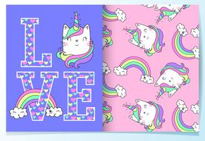 Hand drawn cute cat unicorn in the word love with pattern set