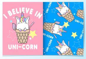 Unicorno sveglio disegnato a mano nell'insieme del modello del cono
