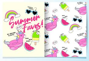Hand drawn cute unicorn float with other summer items pattern set