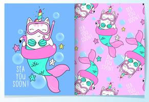Hand drawn cute mermaid in snorkeling mask with pattern set