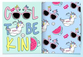 Hand drawn cute unicorn float with pattern set vector