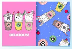 Dibujado a mano lindo gato, perro y conejo bebidas con conjunto de patrones