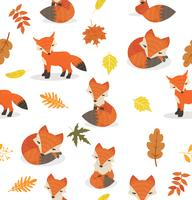 Cute fox different poses leaves pattern vector