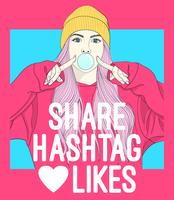 Hand drawn girl blowing bubble with social media typography