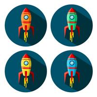 Set of color space rockets in circle