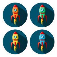 Set kleurruimte raketten in cirkel