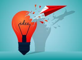 Paper airplane bursting through idea bulb  vector