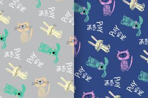 Play With Me Set de modèles de chiens et chats mignons dessinés à la main