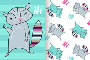 Hand drawn cute raccoon with pattern set vector