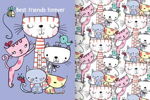 Best Friends Forever Hand drawn cute kitty with pattern set vector