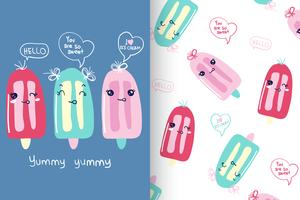 Sommer Popsicle Hand gezeichnete Muster Set
