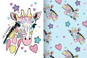 La vida es jirafa colorida conjunto dibujado a mano