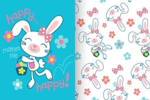 Happy Makes Me Happy Hand Drawn Bunny Pattern vector