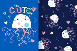 Hand drawn cute jellyfish with pattern set