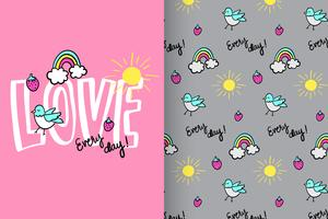 Love Every Day Hand Drawn cute Rainbow Pattern