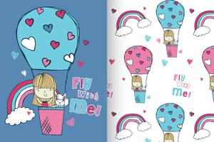 Fly With Me Hand drawn cute girl with pattern set vector