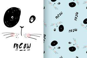 Meow Whiskers Hand drawn Cat with pattern set