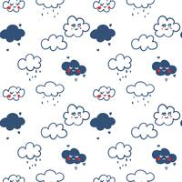 Hand drawn line cloud pattern background vector