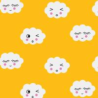 Mão desenhada nuvem de desenhos animados com padrão de rostos