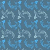 Hand drawn koi fish pattern background