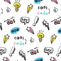 Hand drawn pastel shapes and phrases pattern