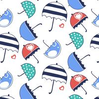 Patrón de paraguas coloridos dibujos animados