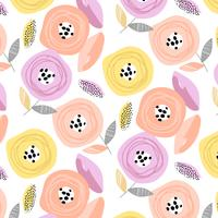 Hand drawn retro pastel flower blossom pattern