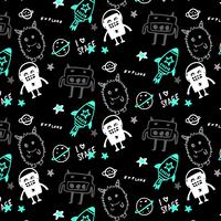 Hand drawn space monster pattern background vector