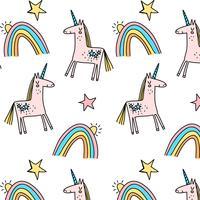 Dibujado a mano pastel unicornio y patrón de arco iris