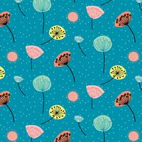 Hand drawn colorful dandelion flowers pattern