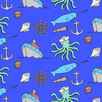 Hand drawn marine objects pattern