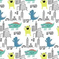 Hand drawn monsters in city pattern background