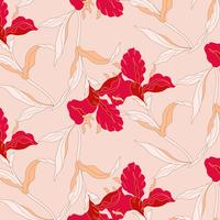 Hand drawn bright red and peach floral pattern