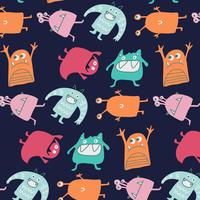 Hand drawn silly colorful monsters pattern  vector