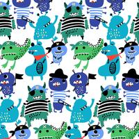 Hand drawn pirate monster pattern  vector