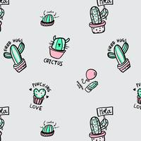 Hand drawn cactus with sayings pattern