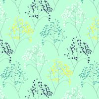 Delicate line tree branch and leaf pattern background vector