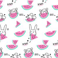 Hand drawn line pink and green animal pattern