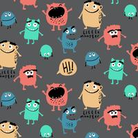 Hand drawn colorful silly monsters pattern  vector