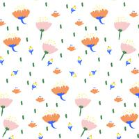 Hand drawn bold spring flower print pattern