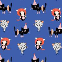 Cartoon cats in Halloween costumes pattern