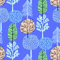 Hand drawn tree pattern blue background