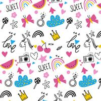 Hand drawn kids fun party pattern background  vector
