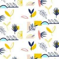 Hand drawn modern shapes  floral pattern