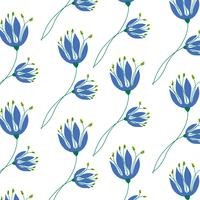 Hand drawn simple blue flower pattern