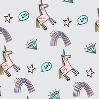 Patrón de dibujo de línea de unicornio dibujado a mano vector