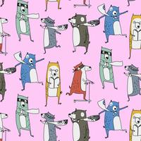 Hand drawn active raccoon and bear pattern  vector