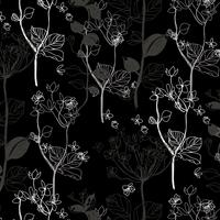 Hand drawn black and white tree pattern background