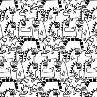 Hand drawn black  line monster dinosaur pattern
