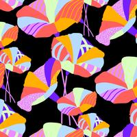 Hand drawn bold bright textured geometric floral pattern